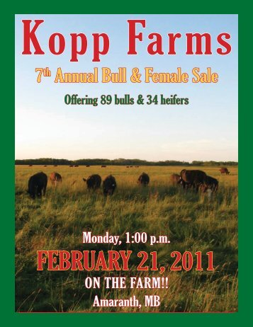 Kopp Farms 7th Annual Bull Sale - Transcon Livestock Corporation