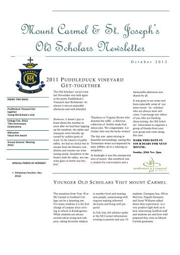 Old Scholars Newsletter October 2012 - Mount Carmel College