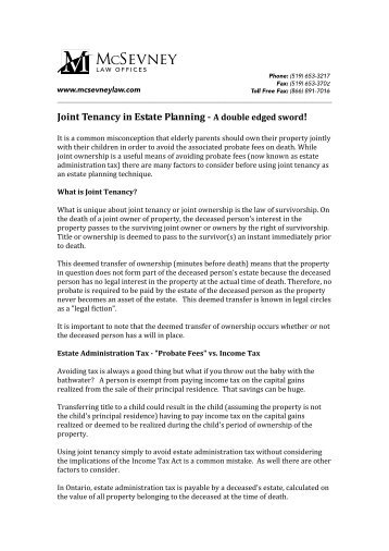 Joint Tenancy in Estate Planning - McSevney Law Offices