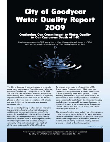 Goodyear AZ Water Report
