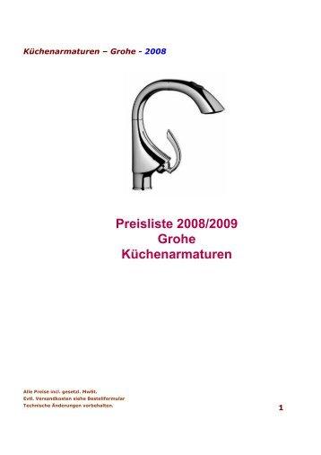 Preisliste 2008/2009 Grohe Küchenarmaturen