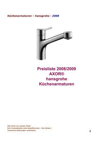 Preisliste 2008/2009 AXOR® Hansgrohe Küchenarmaturen
