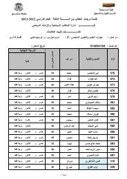 - ﻗﺎﺋﻣﺔ درﺟﺎت اﻟطﻼب ﻣن اﻟﺳـــــــﻧﺔ اﻟﺛﺎﻟﺛﺔ ﻟﻟﻌﺎم اﻟ - جامعة دمشق