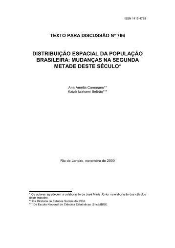 distribuição espacial da população brasileira - Livros Grátis