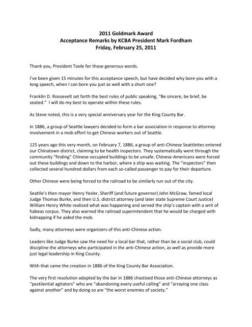 2011 Goldmark Award Acceptance Remarks By Kcba President