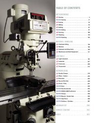 TABLE OF CONTENTS - JET Tools