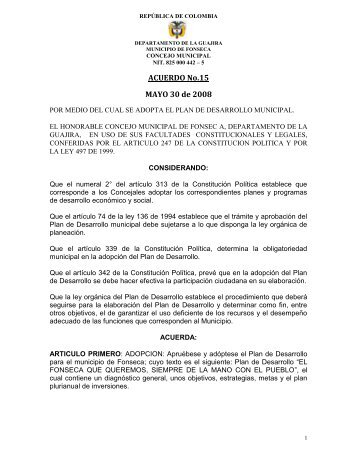 Fonseca - La Guajira - PD - 2008 - 2011 - CDIM - ESAP