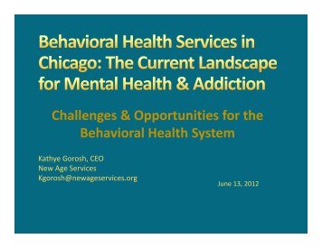 Challenges & Opportunities for the Behavioral Health System