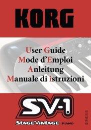 User Guide Mode d'Emploi Anleitung Manuale di istruzioni - Korg