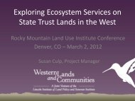 Exploring Ecosystems Services on State Trust ... - Sonoran Institute