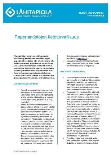 Paperiarkistojen tietoturvallisuus - Tapiola