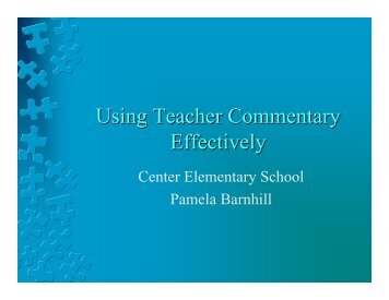 Using Teacher Commentary Effectively - Ware County School System