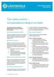 Työn riskien arviointi – tunnistamattomia riskejä ei voi hallita - Tapiola