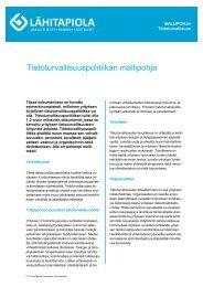 Tietoturvallisuuspolitiikan mallipohja - Tapiola