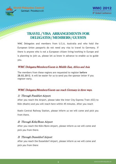 visa application form - World Malayalee Council German Province