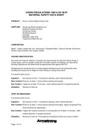COSHH REGULATIONS 1999 & EH 40/97 MATERIAL ... - Armstrong