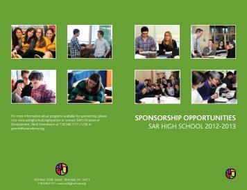 High School Sponsorship Opportunities Brochure - SAR Academy