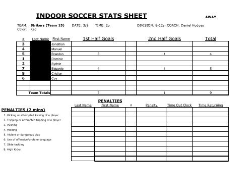 INDOOR SOCCER STATS SHEET - Ynearby