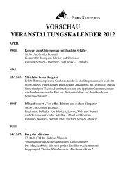 VORSCHAU VERANSTALTUNGSKALENDER 2012 - Burg Kriebstein