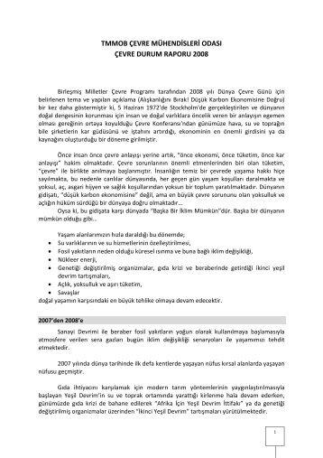 tmmob çevre mühendisleri odası çevre durum raporu 2008