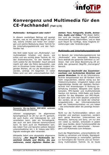 Konvergenz und Multimedia für den CE-Fachhandel Teil 1 - InfoTip