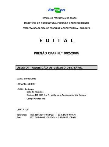 pregão cpap n.º 002/2005 - Embrapa Pantanal