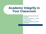 Academic Integrity in Your Classroom - Dean of Students Office