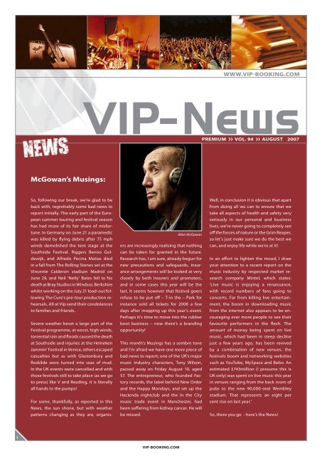 VIP newsletter August07.indd - VIP-Booking