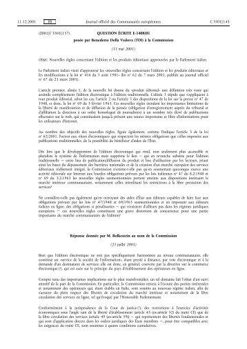 Journal officiel CE 350, 11/12/2001, p. 145 - Certil