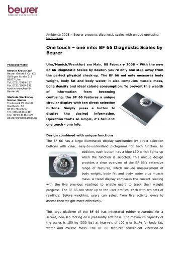 One touch – one info: BF 66 Diagnostic Scales by Beurer