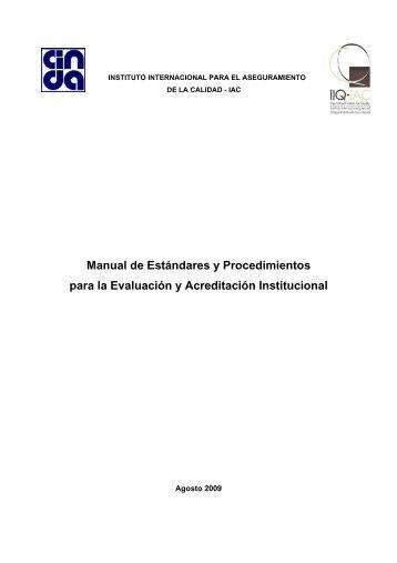 Manual de Estándares y Procedimientos para la Evaluación ... - UPCH