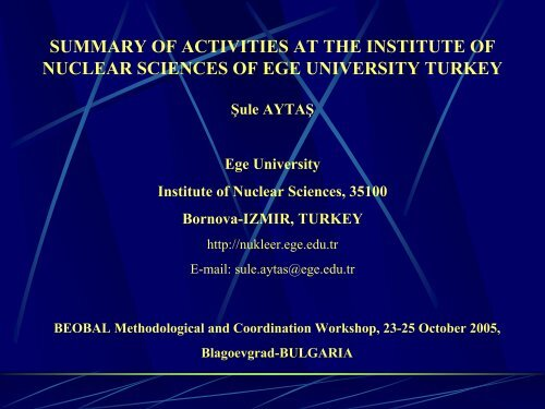 summary of activities at the institute of nuclear sciences of