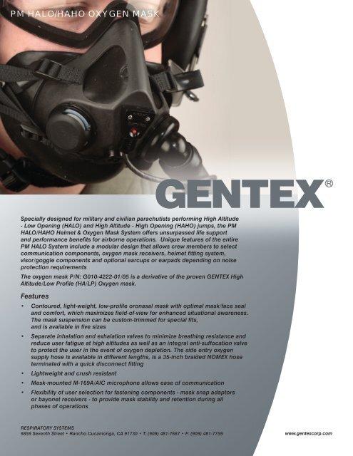 PM HALO/HAHO OXYGEN MASK - Gentex Corporation