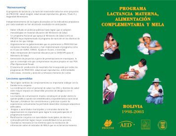PROGRAMA LACTANCIA MATERNA ... - Linkages Project