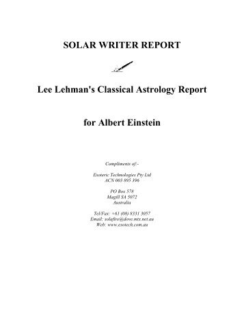 SOLAR WRITER REPORT Lee Lehman's Classical Astrology Report ...