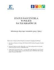 STATUS NAUCZYCIELA W POLSCE NA TLE KRAJÓW UE - Eurydice