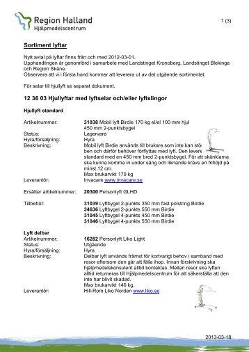 Sortiment lyftar 12 36 03 Hjullyftar med lyftselar ... - Region Halland