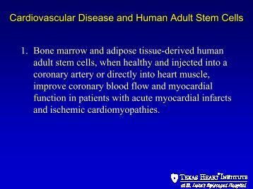 Cardiovascular Disease and Human Adult Stem Cells 1. Bone ...
