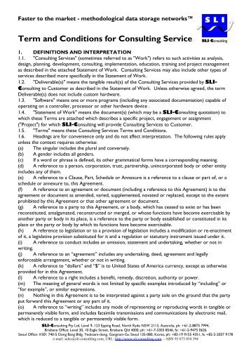 Term And Conditions For Consulting Service   SLI   Consulting