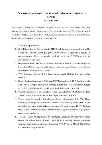 20 Şubat 2010 Merkez Yönetim Kurulu Toplantısı - Türk Toraks ...