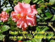 De la Veille Technologique au Knowledge Management - CRRM à