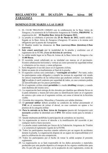 REGLAMENTO III DUATLON BAZ - Federación Aragonesa de Triatlón