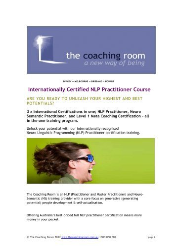 Internationally Certified NLP Practitioner Course - The Coaching ...