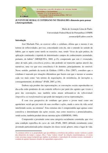 JUVENTUDE RURAL E COTIDIANO NO TRABALHO: dimensão ...