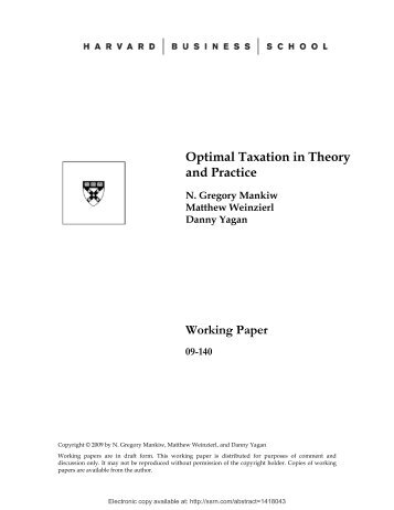 Optimal Taxation in Theory and Practice Working Paper