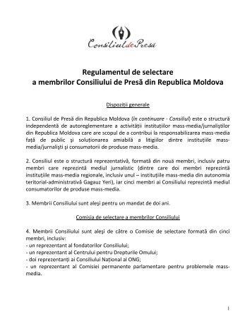 Regulament de selectare a membrilor Consiliului de Presă