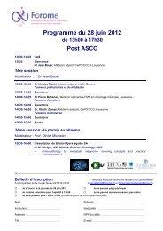 Programme du 28 juin 2012 - FoROMe