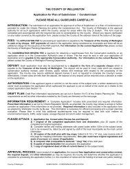 THE COUNTY OF WELLINGTON Application for Plan of Subdivision ...