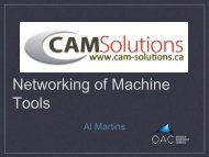 Networking of Machine Tools - Cam Solutions - Nov 2012