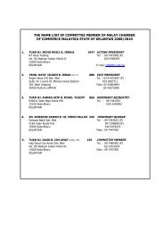 the name list of committee member of malay chamber of commerce ...